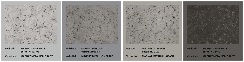 ukázky dekorů při využití MAGNAT METALLICI Grafit