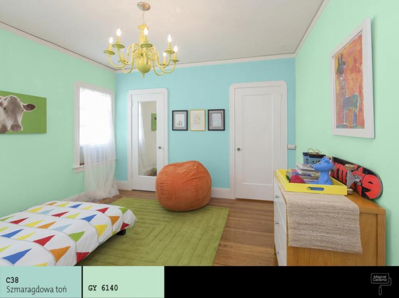kombinace chladných barev v dětském pokoji