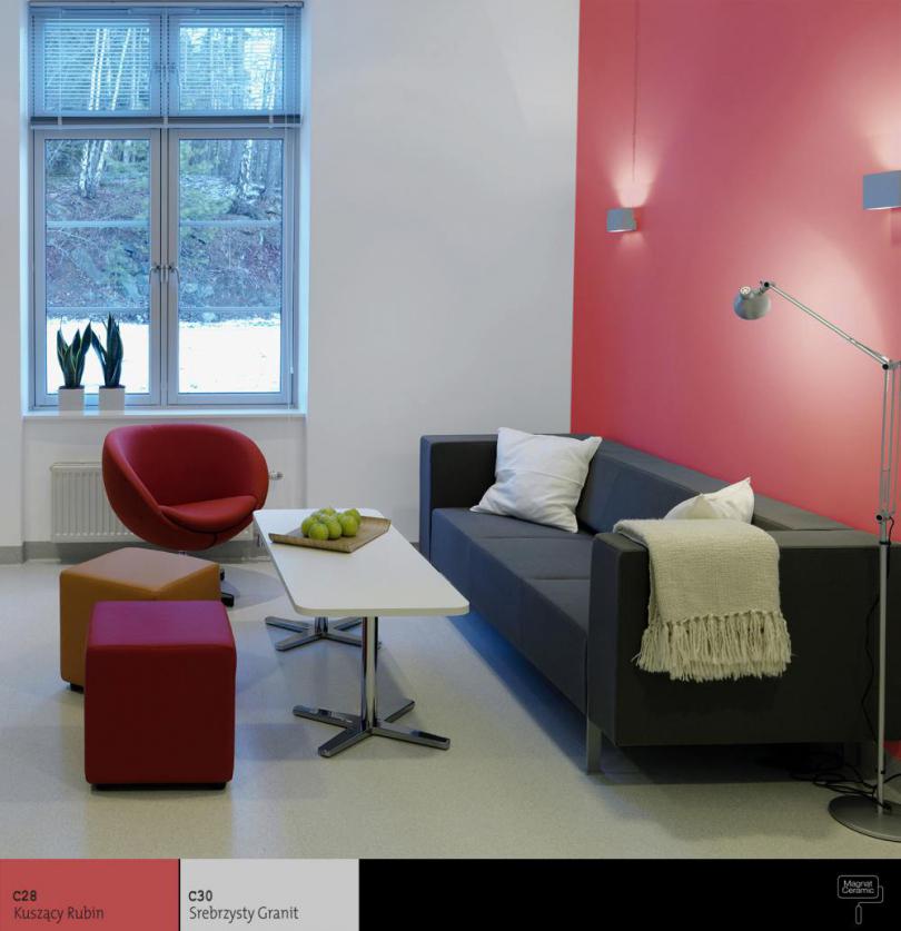 příklad řešení dekorace stěn v obývacím pokoji s použitím keramické matné barvy Magnat Ceramic