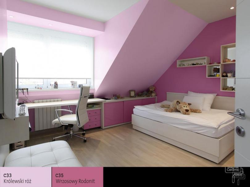 příklad řešení dekorace stěn v dětském pokoji s použitím keramické matné barvy Magnat Ceramic